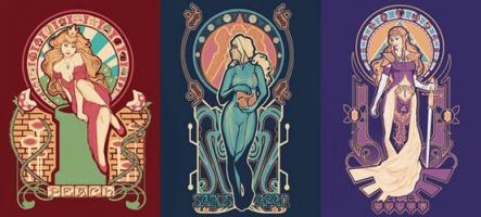 Les héroïnes de Nintendo, façon Art Nouveau